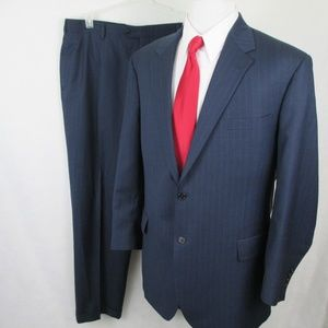 Jos A Bank Sig Coll Pinstripe Wool Silk Suit 39x31